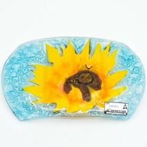 Fused Art Glass Sunflower Flower Design Soap Dish Handmade Ecuador image 2