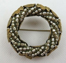 Antique Or Vintage Miriam Haskell Round Brooch Faux Pearls Gold Tone - $55.00