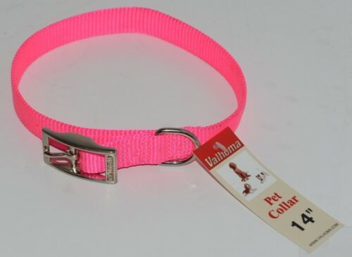 Valhoma 730 14 HP Dog Collar Hot Pink Single Layer Nylon 14 inches Package 1