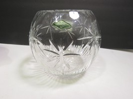 Shannon Cut Crystal Rose Bowl Palm Tree South Beach Large with Label Godinger - $43.56