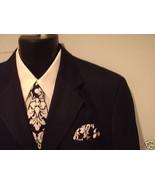 Damask Necktie Set  Men Dandy Black White Wedding Tie - $29.95