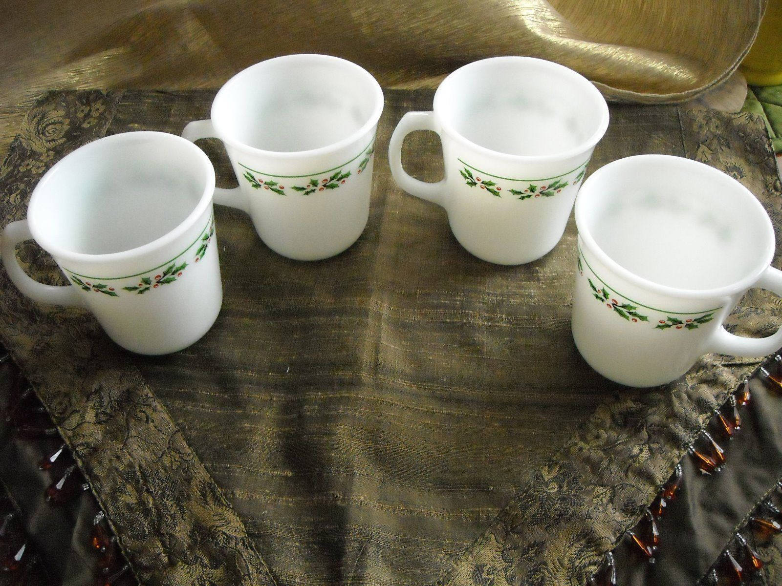 Vintage Corning Ware Coffee Cups Mugs Holly & Berry Trim Set of 4 Milk Glass image 2