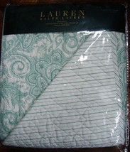 New Ralph Lauren Quilt King 3 Pc Set MULTI PALE GREEN PAISLEY STRIPE WHI... - $229.99