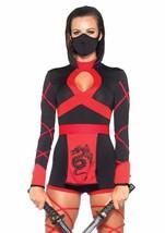 Leg Avenue 3 Piece Dragon Ninja Black/Red Medium - $44.99