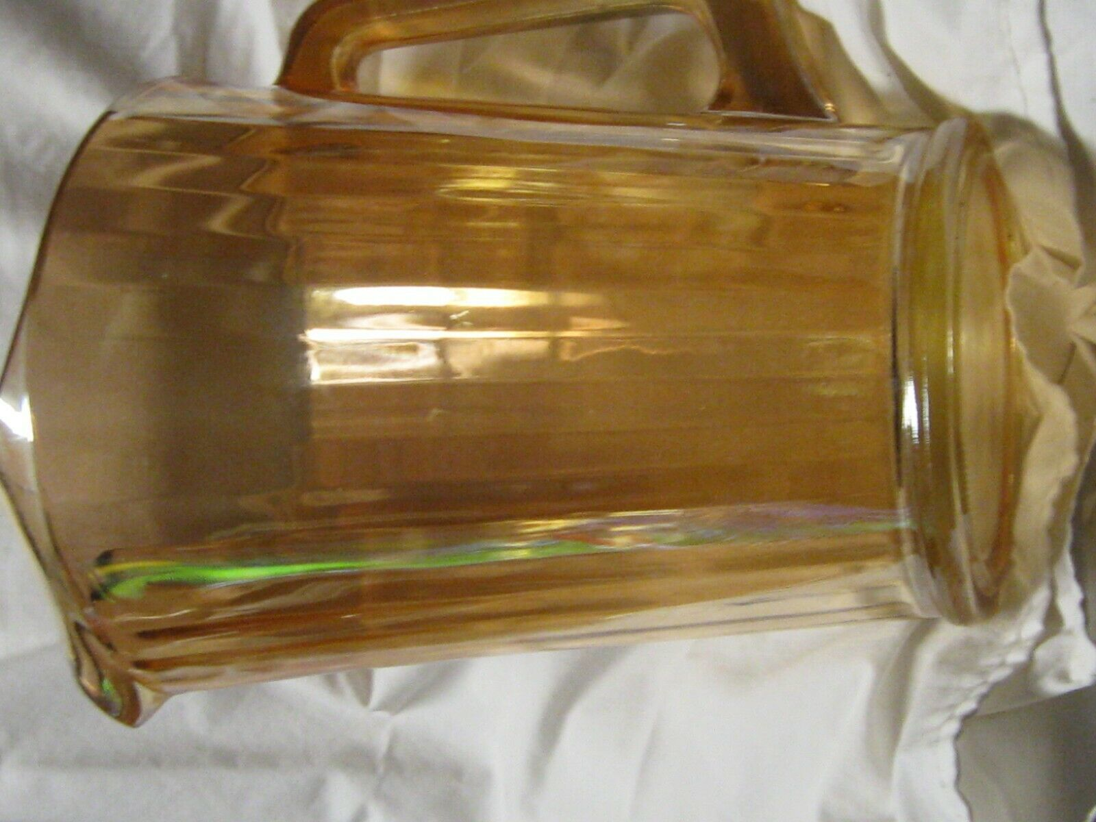 Carnival Glass Marigold Swirl Pattern Ice Lip Water Pitcher  VTG COND