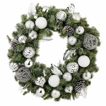 "32"" Pre-Lit Silver Ornament Wintery Pine Artificial Christmas Wreath NEW image 2"