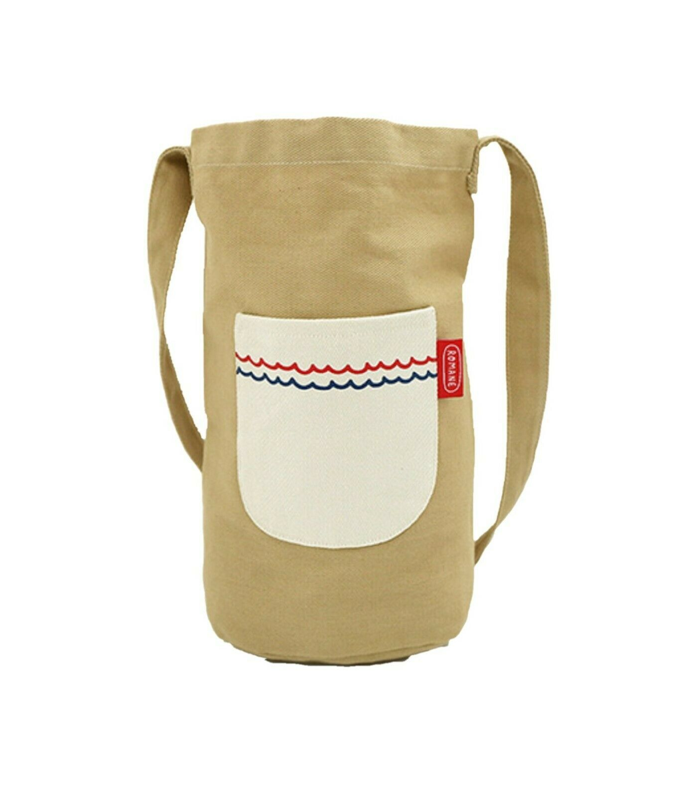 Romane Baguette Tote Bag Cotton Canvas Eco reusable Daily Shopper Bag (Beige)