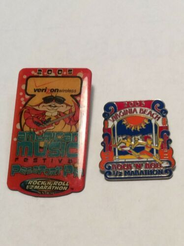Primary image for 2 Rock N Roll Marathon 2005 Virginia Beach Pins  American Music Festival RARE