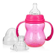 Nuby 3 Stage Tritan Wide Neck Grow with Me No-Spill Bottle to Cup, 8 Oz, Pink - $13.12
