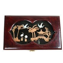 Vintage Asian Cork Carving Shadow Diorama Lacquered Jewelry Box Birds - $16.72