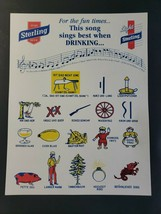 Vintage Sterling Beer Drinking Song Sheet New Old Stock B6 - $12.99