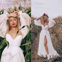Vintage Lantern Sleeve White Best Bridal Gown Open Back V-neck Formal Party Gown image 5