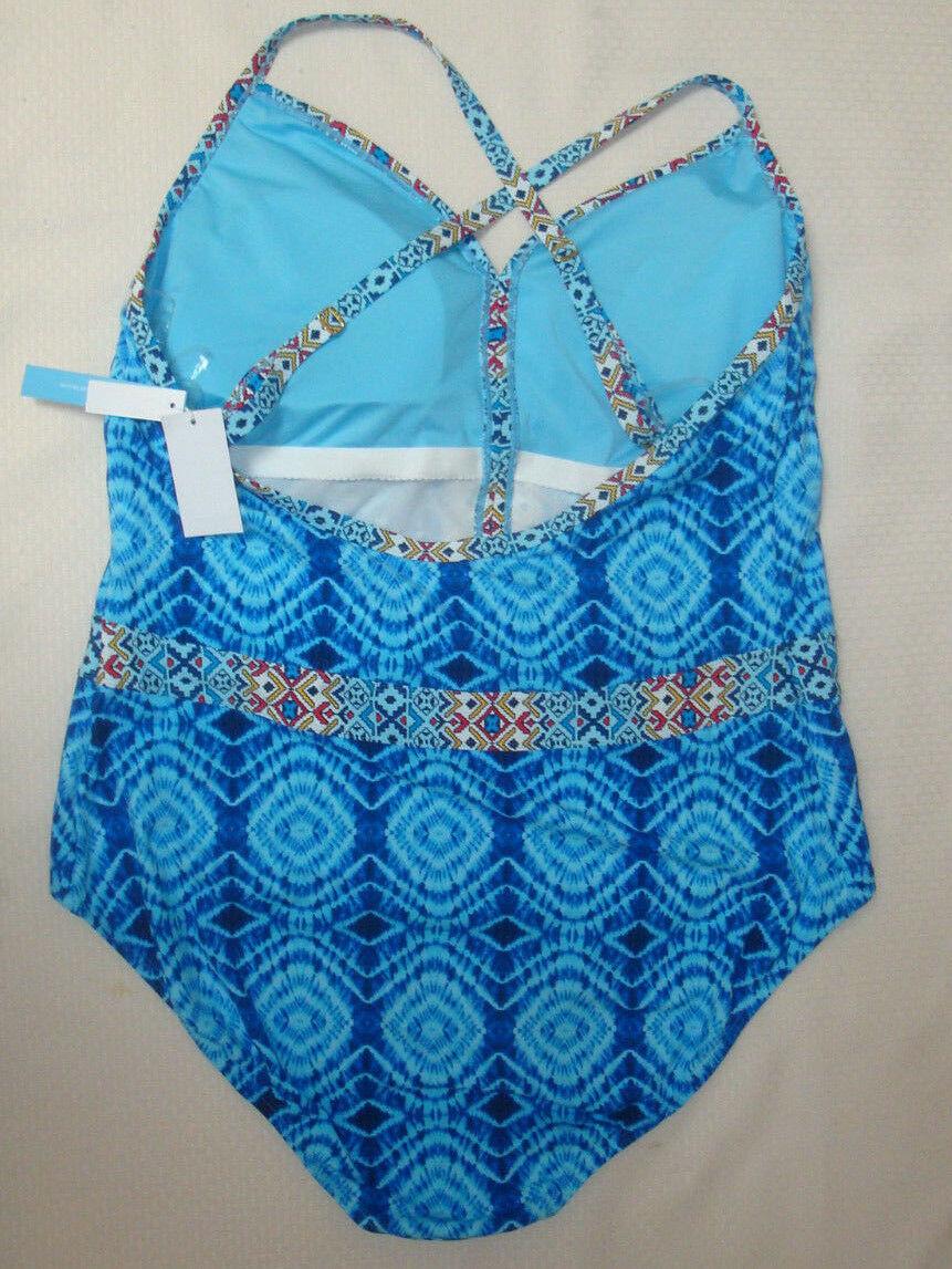 New $155 BLEU Rod Beattie Plus Size Mykonos Plunge X-Back One Piece Swimsuit 22W image 2