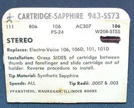 EV 106 108 101 106D PHONOGRAPH STYLUS Zenith 142-108 NEEDLE CARTRIDGE 943-SS73 image 2