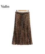 Ins Chic Leopard Print Pleated Skirt Animal Pattern Faldas Mujer Drawstr... - $23.75