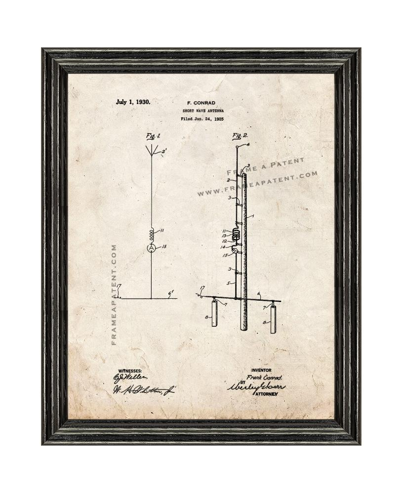 Primary image for Shortwave Antenna Patent Print Old Look with Black Wood Frame