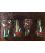 Christmas Holly Wreath Bells Bows Coca Cola Glass Tumblers Four Holiday ... - $35.00