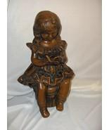 Fabbri Art Studio Statue Figurine Chalkware Girl Reading Book Ruffled Dr... - $178.19