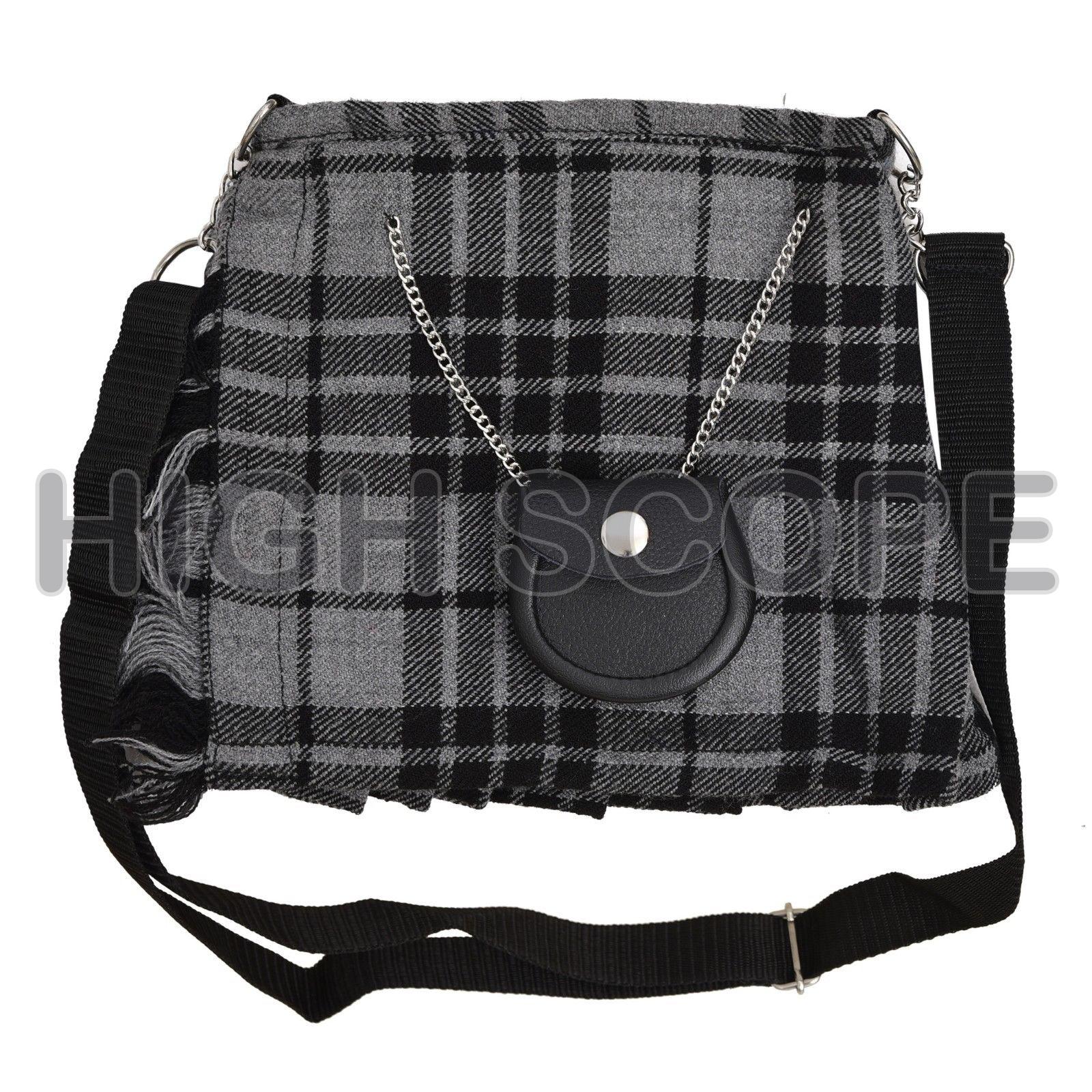 14faec311605 Scottish Tartan Hand bag shoulder bag 100% ACRYLIC Gray .