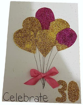 Birthday Cards - 30th Birthday Card Celebrate Thirty With Gold and Red B... - $4.63