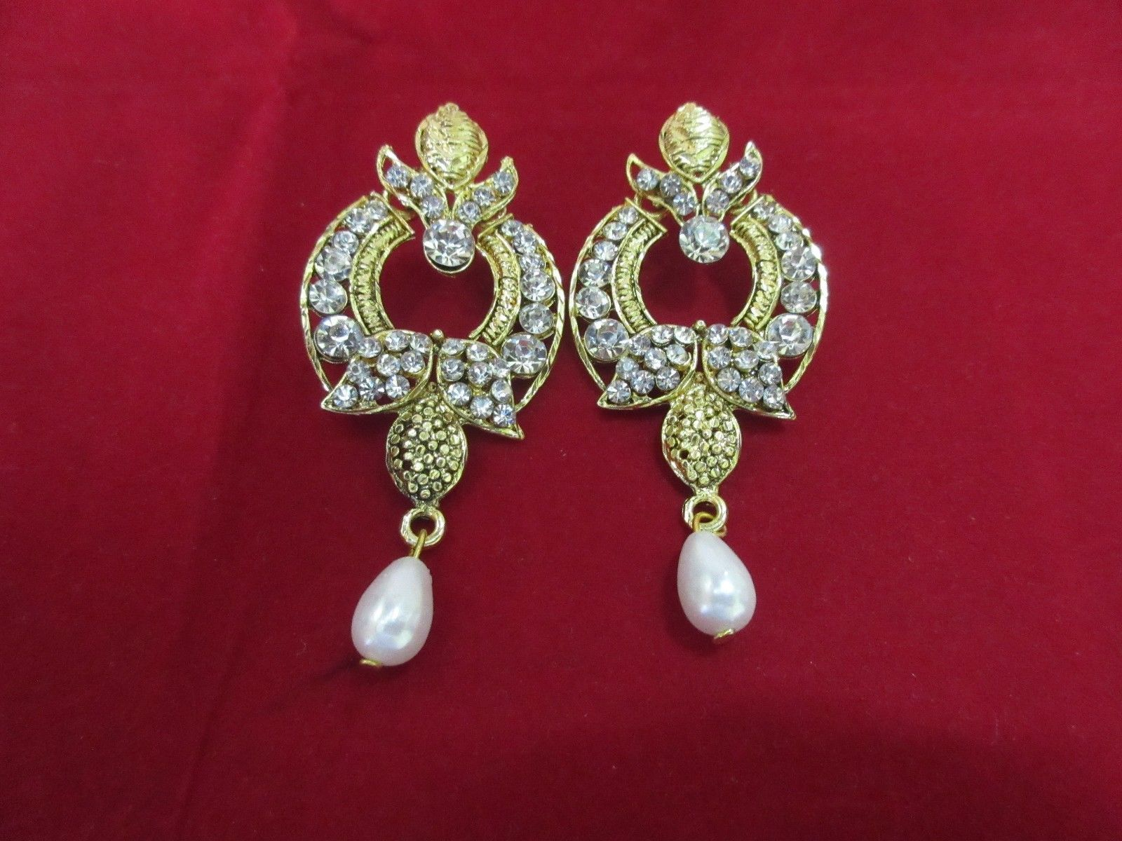 Indian Ethnic Two Tone Party Drop Pearl Jhumka Jhumki Bollywood Fashion Earrings