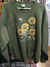 Sweatshirt Cotton Blend Blue Size L with Sun Flowers and Lady Bug - $32.67