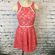 Lush Womens Sz XS Dress Pink Orange Floral Lace Sleeveless Short Skater - $9.89