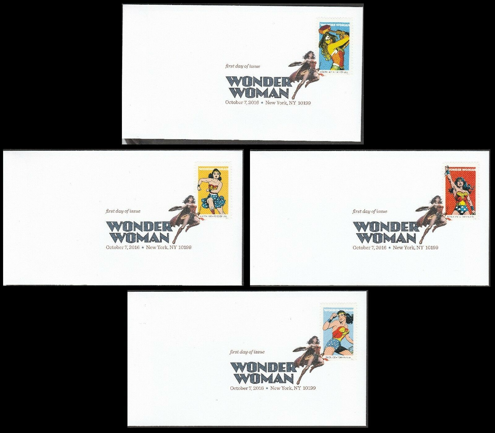 US 5149-5152 Wonder Woman (set of 4) DCP FDC 2016