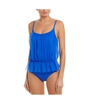 Gottex Contour Size 12 Lattice Front One Piece Maillot Swimsuit Royal NW... - $61.75