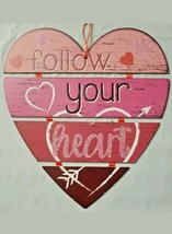 "' 'Follow Your Heart'' Foldable Hanging Sign Red Pink Glitter 11"" X 12"" ... - $7.57"