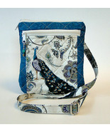Quilted Peacock Purse / Messenger Bag Adjustable Strap Crossbody or Shou... - $35.99