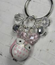 Pink Owl Cluster Keychain Ceramic Crystal Beaded Handmade Split Key Ring... - $14.54