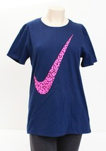 Nike Blue & Pink Swoosh Athletic Cut Short Sleeve T Tee Shirt Women's NWT - $29.99