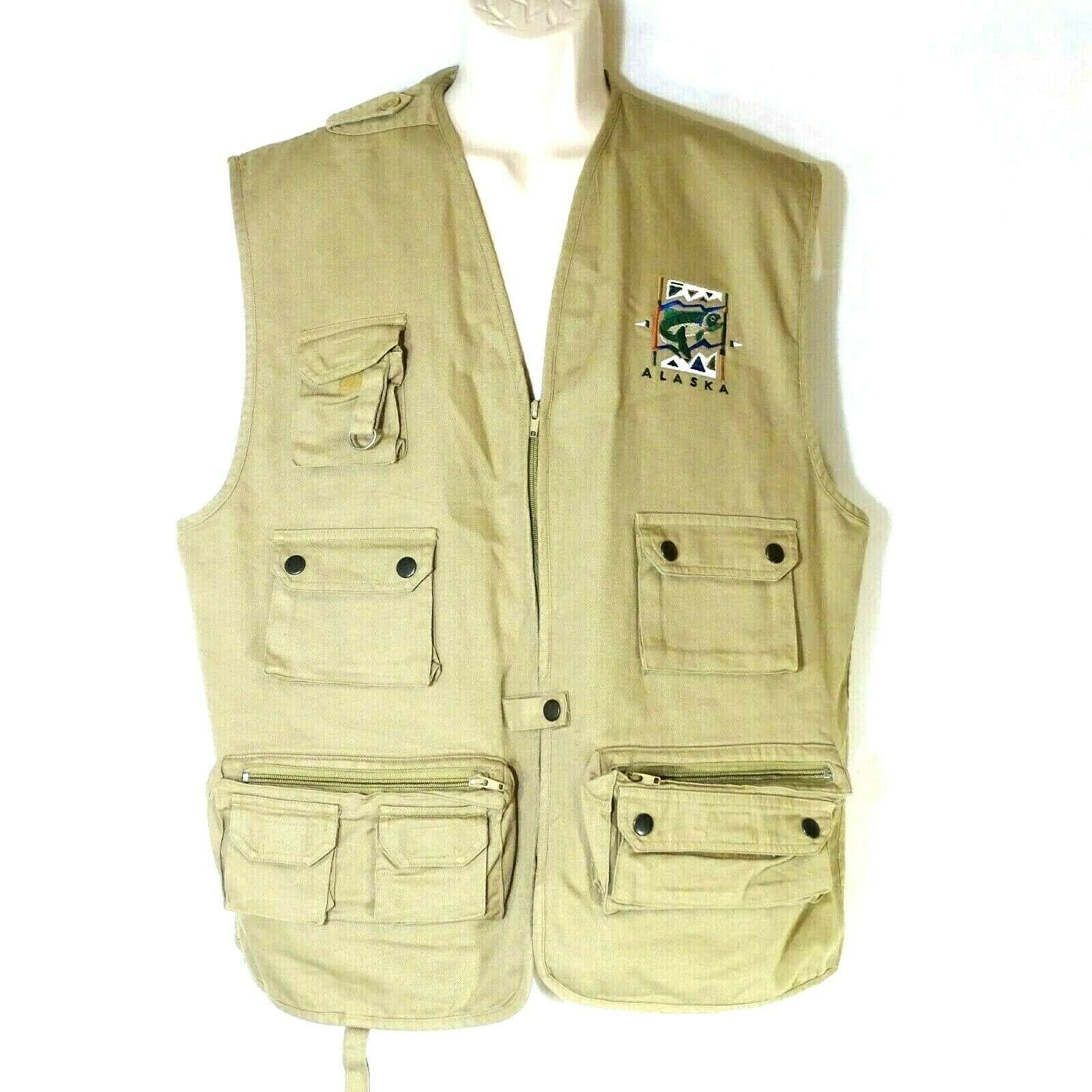 Primary image for Polar Graphics Alaska Fishing Vest Full Zip Men Women Size L Tan Khaki Pockets