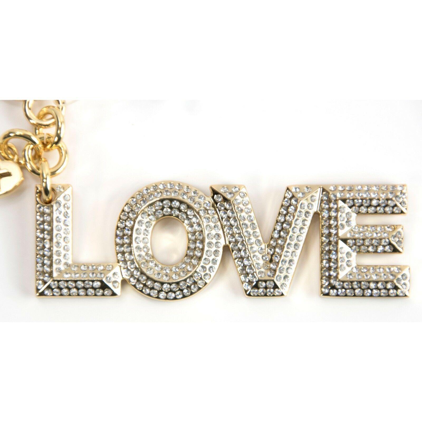 Michael Kors Gold Pave Crystal Pyramid Stud Love Key Chain Bag Charm NWT