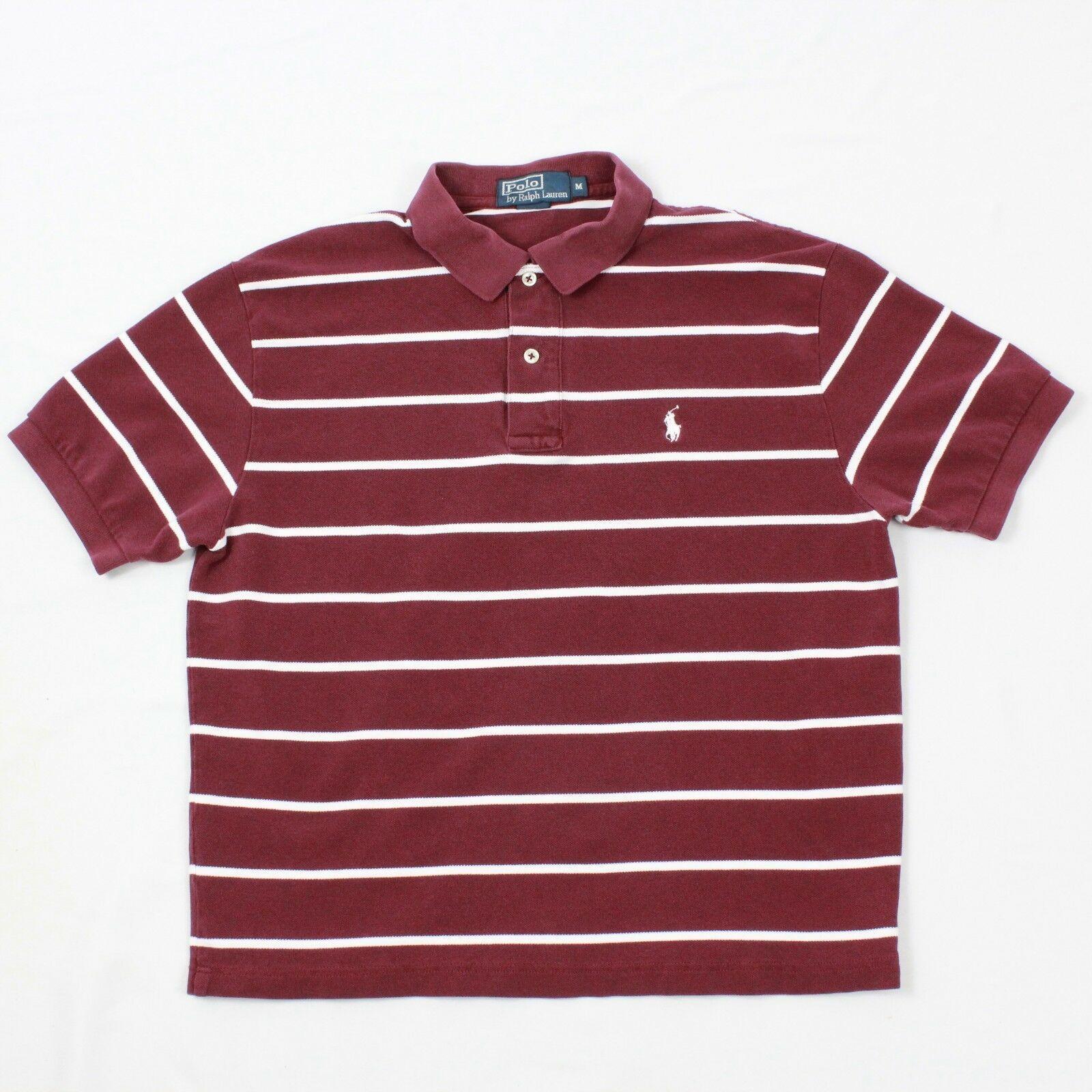 Polo Rayé TAILLE M Ralph Lauren Coton Burgun Blanc Cheval T-Shirt Extensible