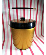 Mid Century West Bend Thermo Serv  Insulated Space Age Ice Bucket Gold a... - $20.00