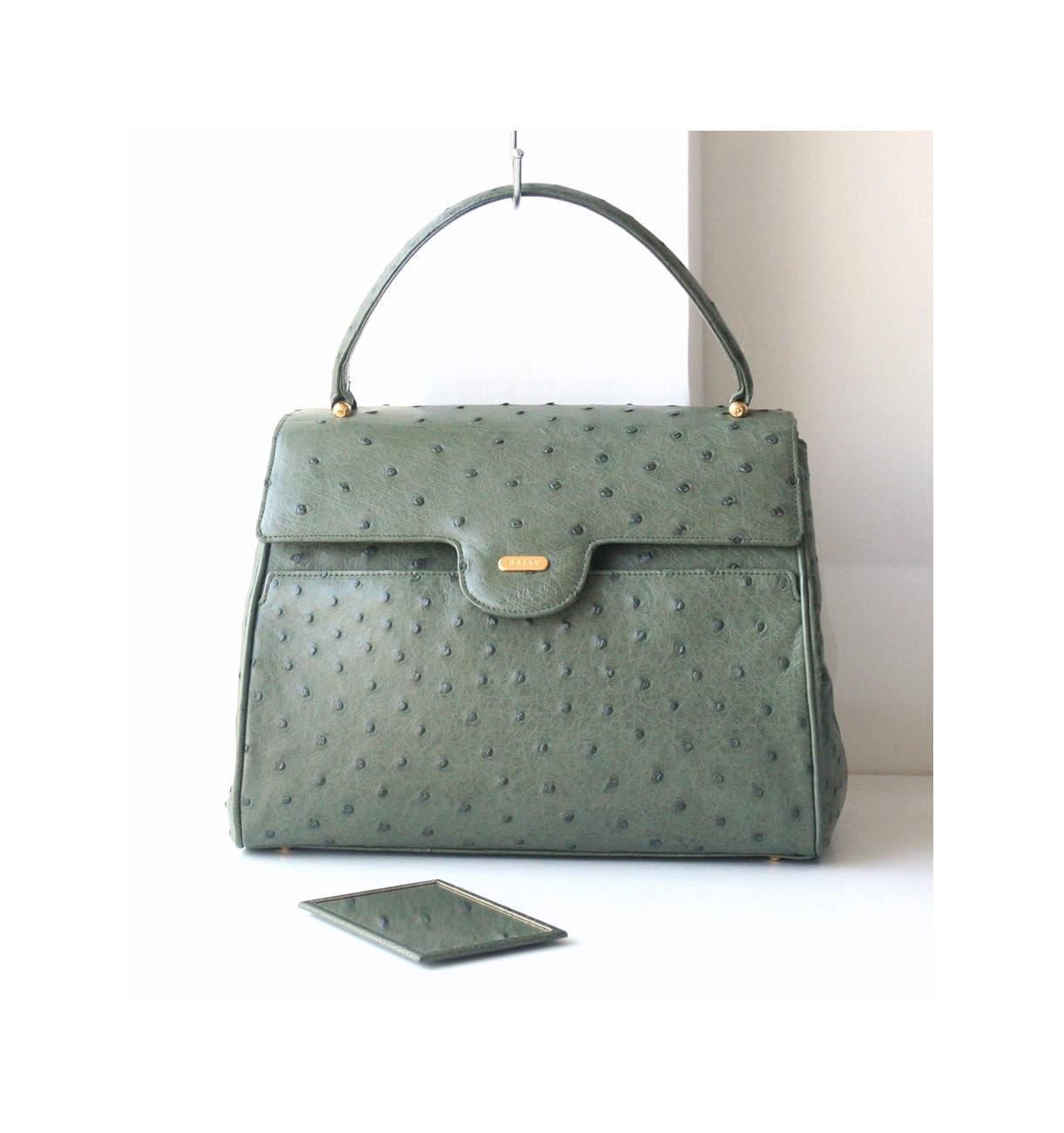 a57d8c2c8322 Bally ostrich leather tote authentic vintage handbag Prestine -  1