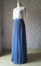 Dusty Blue Bridesmaid Dresses 2 Piece Long Tulle Skirt and Sleeve Crop Lace Top  image 2