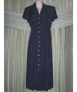 SHERI MARTIN NEW YORK Navy Blue White Polka Dot Button-Down PETITES Dres... - $12.99