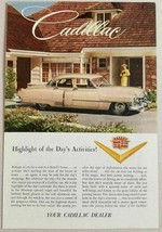 1952 Print Ad Cadillac 4-Door Pretty Lady in Front of Suburban Home - $11.80