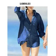 2019 Blue Solid Denim Summer Women Tunic Beach Wear Tops Swim Suit Cover... - $29.95