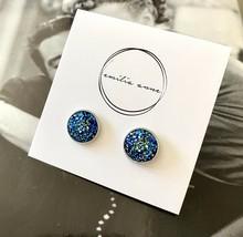Druzy Quartz Post Earrings Sparkle Scott Dark Blue Drusy - $18.43
