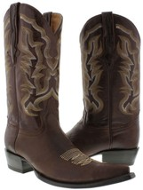 Mens Brown Real Classic Plain Leather Western Cowboy Boots Embroidered 3... - £114.52 GBP