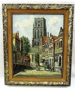 Framed P C Steenhouwer Rotterdam Dutch Oil Painting City Scene 22 x 26 S... - $692.99