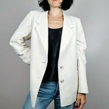vintage white oversized blazer womens medium Large White jacket - $45.10