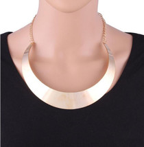 USA Silver Tone Choker Mirrored Mottled Pop Metal Women Curved Necklace ... - $13.99