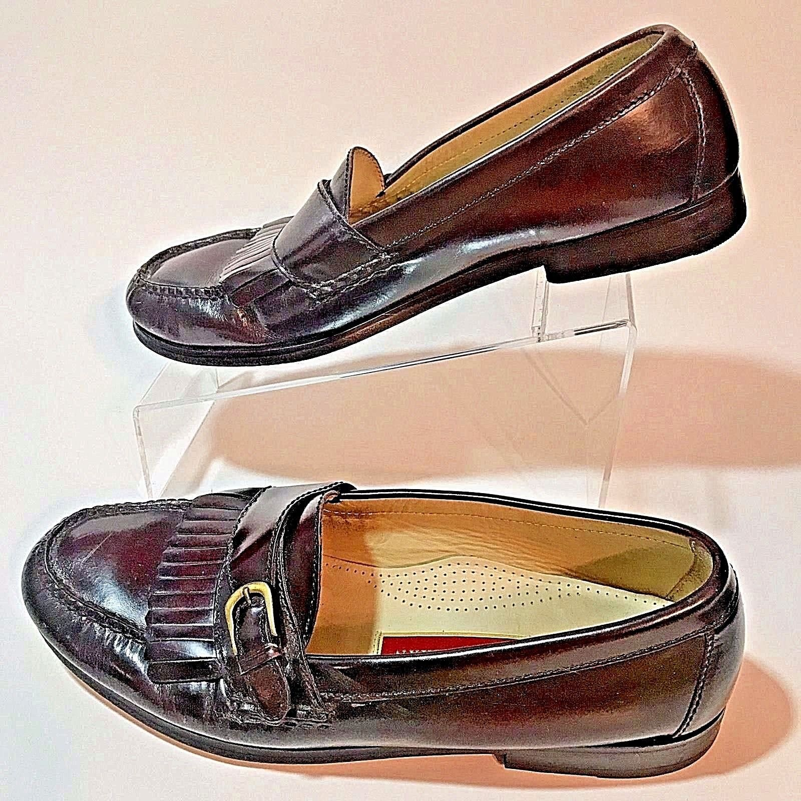 Cole Haan Mens City Buckle Loafers Size 10 D Burgundy Fringed Kiltie Tassel Eu43