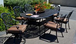 Patio dining set 7pc Elisabeth outdoor cast aluminum oval table Desert Bronze image 1