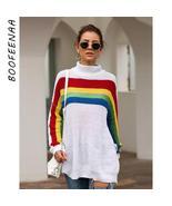 BOOFEENAA 2019 Fall Winter Oversized Sweater Tops Turtleneck Long Sleeve... - $41.96